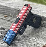 Glock red white blue  stars n stripes with stippled and spartan helm